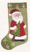Santa With Tree Stocking Fine Art Print