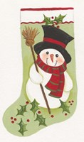 Snowman With Broom Stocking Fine Art Print