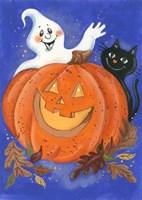 Pumpkin, Ghost & Cat Fine Art Print