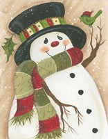 Snowman With Green Bird Fine Art Print