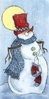 Full Moon Snow Man Fine Art Print