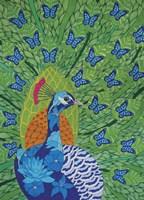 Peacock and Butterflies Fine Art Print