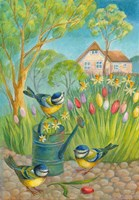 Birds by the Watering Can Fine Art Print