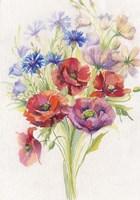 Red & Blue Flowers Fine Art Print