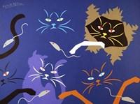Cats on Blue Fine Art Print