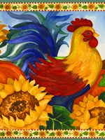 Rooster with Sunflower Border Fine Art Print