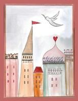 Fantasy Cityscape With Dove Fine Art Print