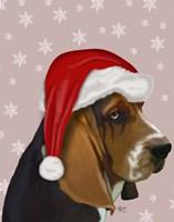 Basset Hound, Christmas Hat Fine Art Print