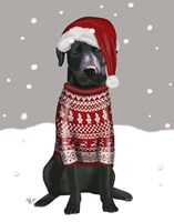 Black Labrador, Christmas Sweater 1 Fine Art Print