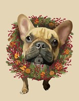 French Bulldog, Cranberry Wreath Fine Art Print