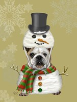 English Bulldog, Snowman Costume Fine Art Print