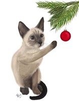 Siamese Cat and Bauble Fine Art Print