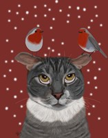 Grey Cat and Robins Fine Art Print