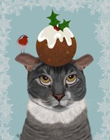 Grey Cat and Christmas Pudding Fine Art Print