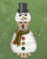 Yellow Labrador, Snowman Costume Fine Art Print