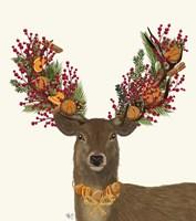 Deer, Cranberry and Orange Wreath Fine Art Print
