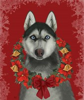 Husky and Poinsettia Wreath Fine Art Print