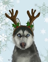 Husky and Antlers Fine Art Print