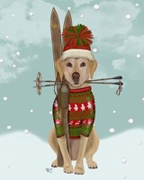 Yellow Labrador, Skiing Fine Art Print
