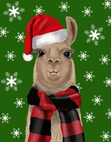 Llama, Christmas Hat Fine Art Print