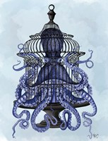 Blue Octopus in Cage Fine Art Print
