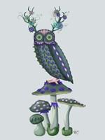 Owl on Mushrooms Fine Art Print