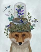 Fox with Butterfly Bell Jar Fine Art Print