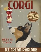 Corgi, Black and Tan, Ice Cream Fine Art Print
