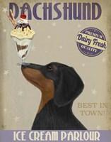 Dachshund, Black and Tan, Ice Cream Fine Art Print