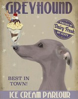 Greyhound, Grey, Ice Cream Fine Art Print
