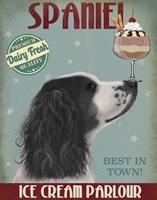 Springer Spaniel, Black and White, Ice Cream Fine Art Print
