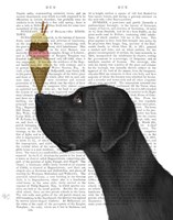 Great Dane, Black, Ice Cream Fine Art Print