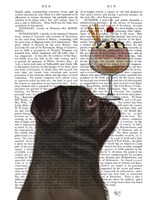 Pug, Black, Ice Cream Fine Art Print