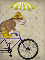 English Bulldog on Bicycle Fine Art Print