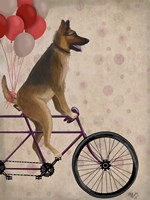 German Shepherd on Bicycle Fine Art Print