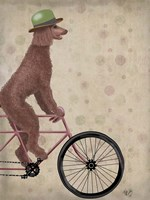 Poodle on Bicycle, Brown Fine Art Print