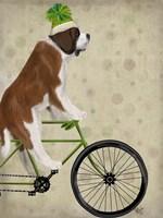 St Bernard on Bicycle Fine Art Print