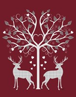 Christmas Des - Deer and Heart Tree, Grey on Red Fine Art Print