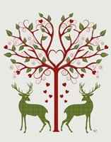 Christmas Des - Deer and Heart Tree, On Cream Fine Art Print