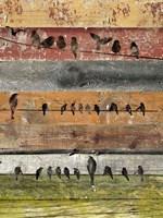 Birds on Wood I Fine Art Print