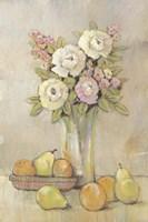 Still Life Study Flowers & Fruit I Framed Print