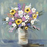 Mixed Pastel Bouquet I Framed Print