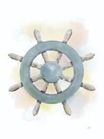Watercolor Ship's Wheel Fine Art Print