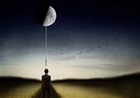Man And The Moon Fine Art Print