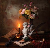Still Life With Bust And Flowers Fine Art Print