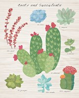 Succulent and Cacti Chart IV on Wood Fine Art Print