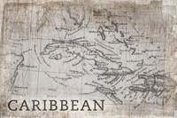 Carribean Map White Framed Print