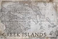 Greek Islands Map White Framed Print