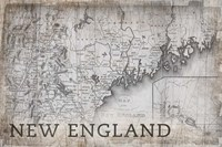 New England Map White Fine Art Print