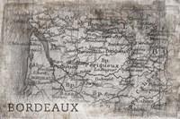 Bordeaux Map White Fine Art Print